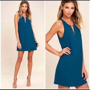 Lulu's Near Or Bar Shift Dress Teal Blue Small